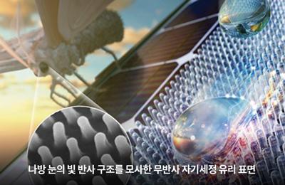 기계 김동성 교수 공동연구팀, 나방 눈 모사 유리로 흐린 날씨에도 태양광 발전 맑음